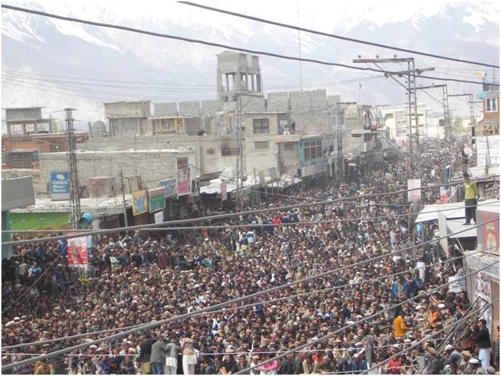 Huge protests in gilgit baltistan