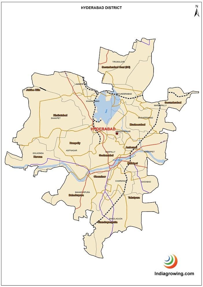Hyderabad District Mandals Map