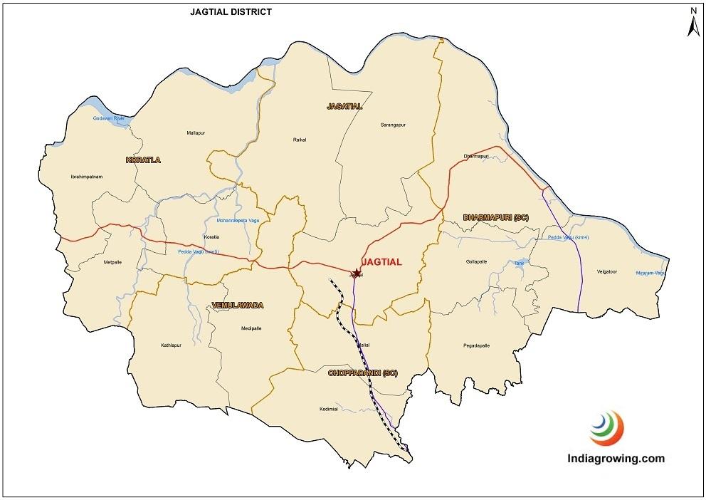 Jagtial District Mandals Map