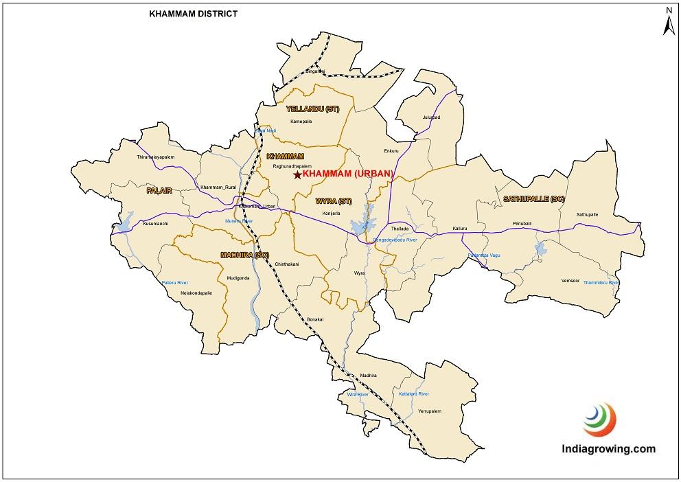 Khammam District Mandals Map
