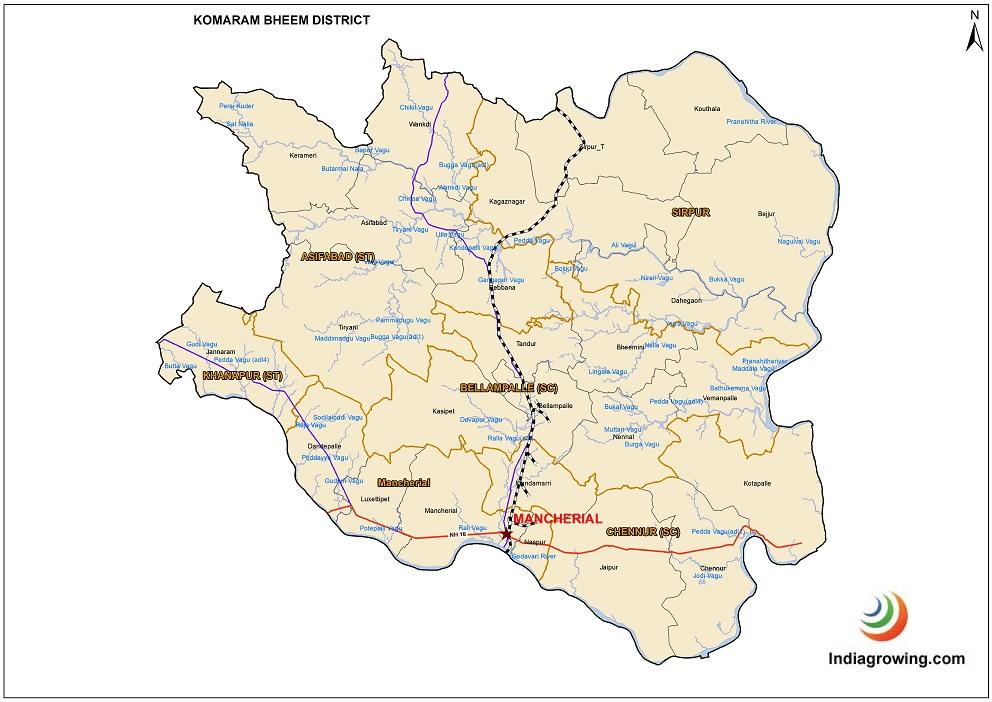 Komaram Bheem District Mandals Map