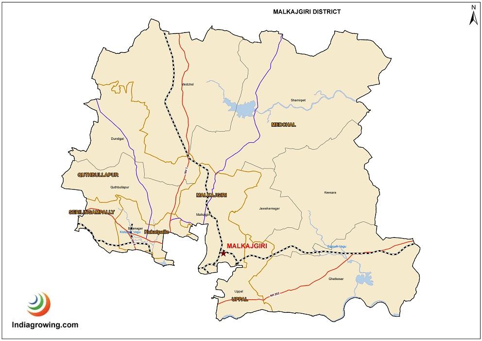 Malkajgiri District Mandals Map