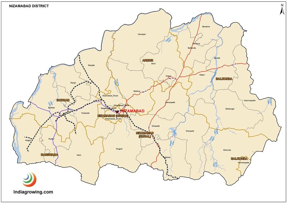 Nizamabad District Mandals Map