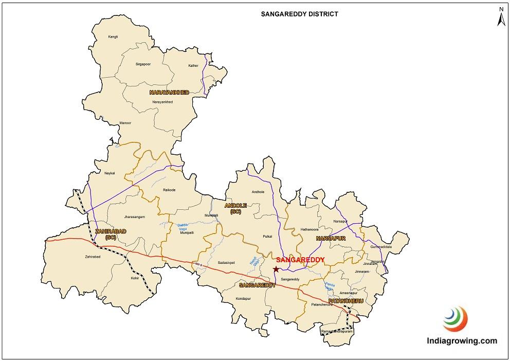 Sangareddy District Mandals Map