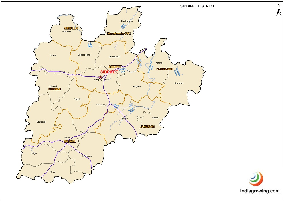 Siddipet District Mandals Map