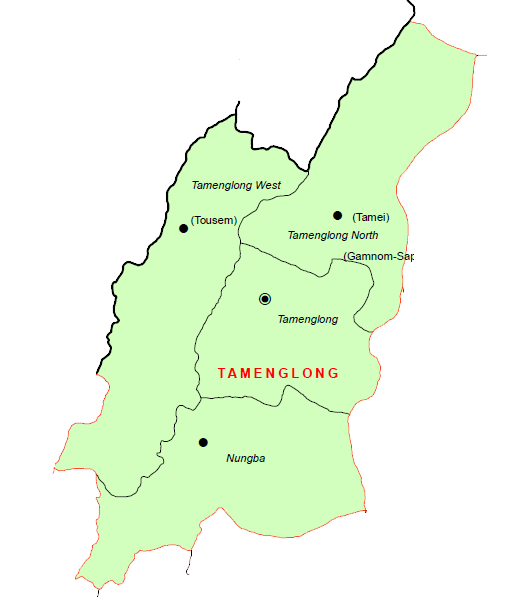 Tamenglong District Subdivisions Map