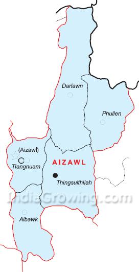 Aizawl District Map