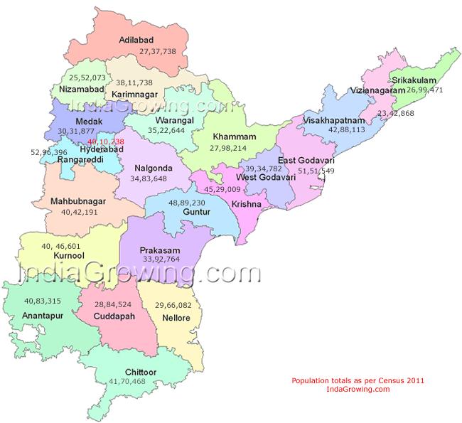 Andhra Pradesh State Map and Andhra Pradesh Population Map