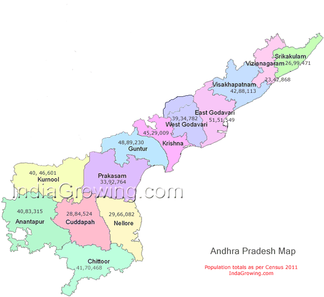 Andhra Pradesh Map, district wise population