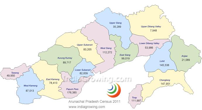 Arunachal Pradesh Map, District wise population