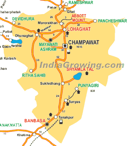 Champawat District Map
