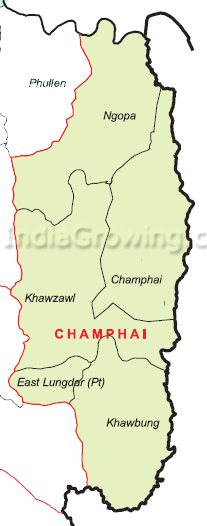 Champhai District Blocks Map