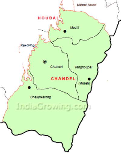 Chandel District Subdivisions Map