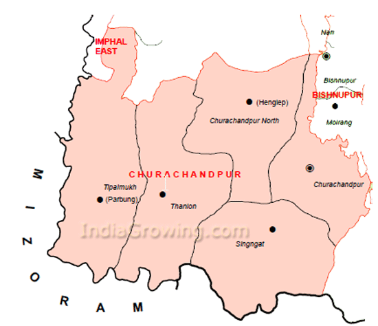 Churachandpur District Subdivisions Map