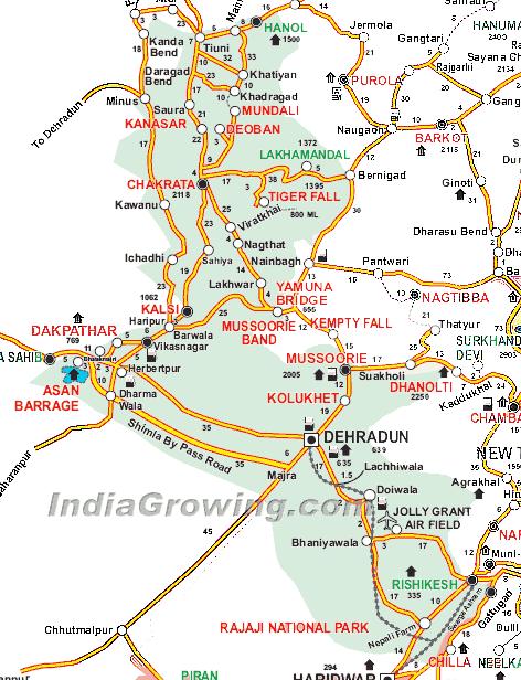Dehradun District Tehsils Map