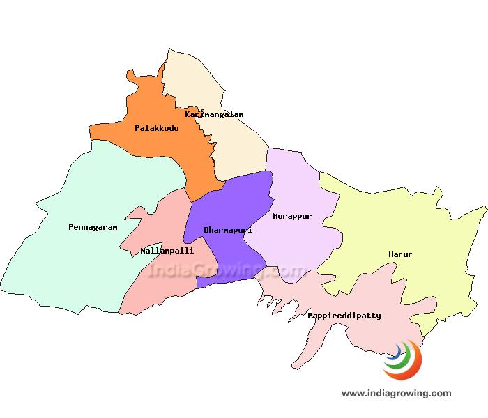 Dharmapuri District Taluks Map