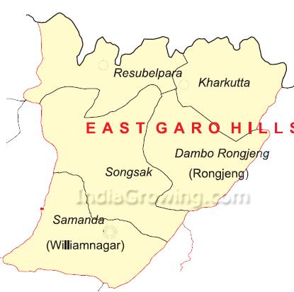 East Garo Hills District Blocks Map