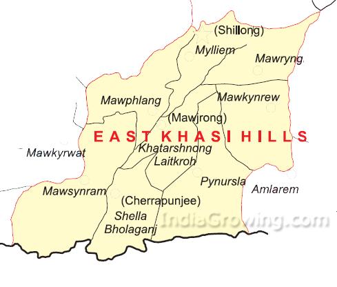 East Khasi Hills District Blocks Map