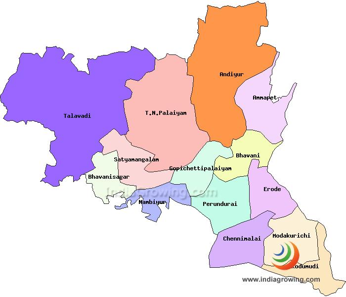 Erode District Taluks Map