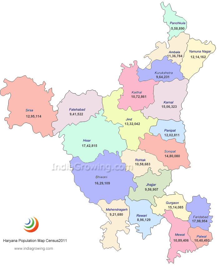 Haryana India Map.Haryana Population 2019 Maps Districts Cities Language