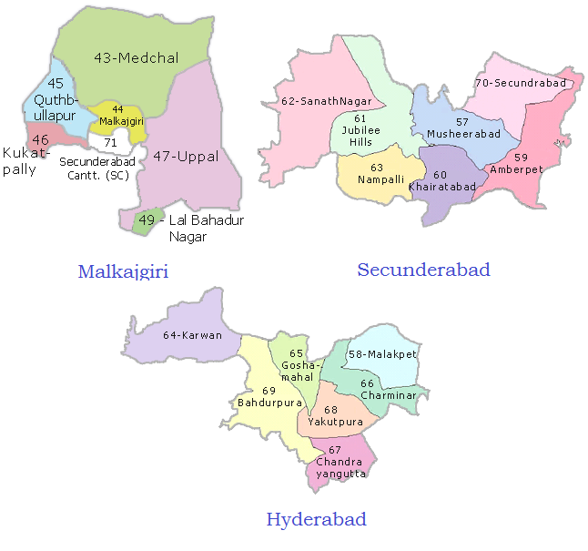 Hyderabad Secunderabad Malkajgiri Constituencies Map