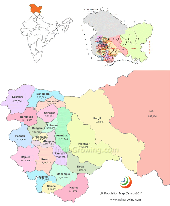 District Jammu Kashmir Map Jammu And Kashmir State Map