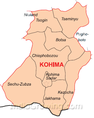 Kohima District Subdivisions Map
