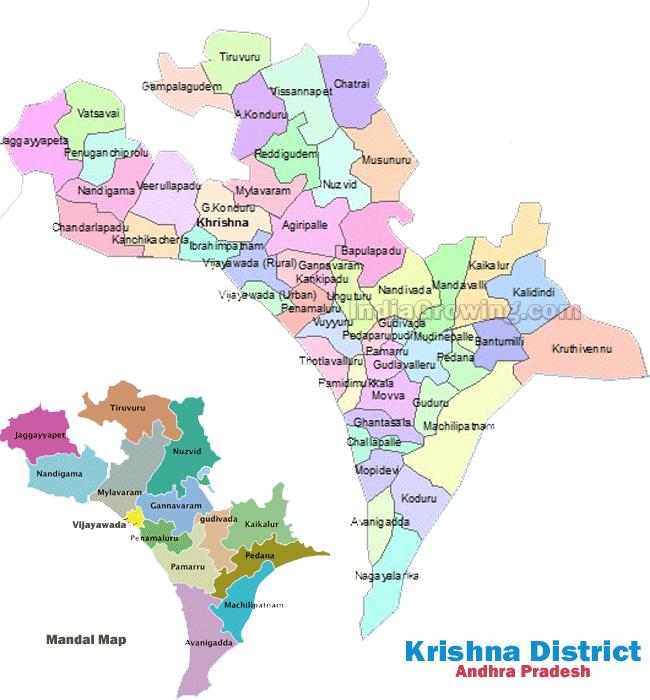 Krishna District Mandals Map
