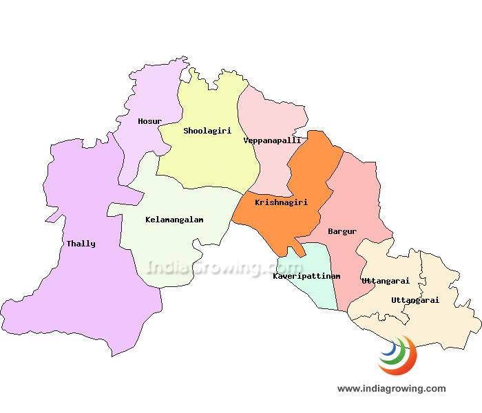 Krishnagiri District Taluks Map