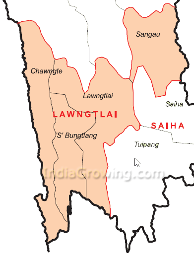 Lawngtlai District Map