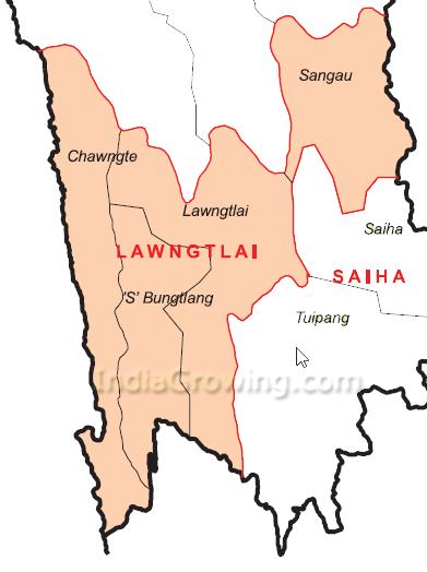Lawngtlai District Blocks Map
