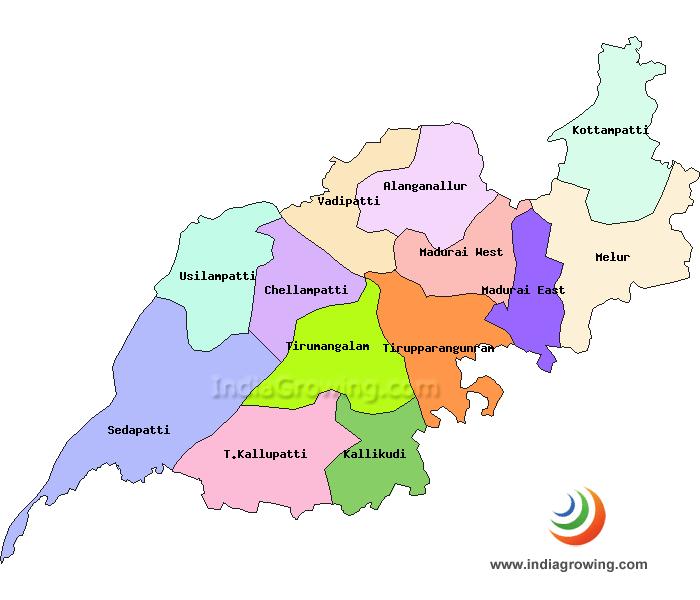Madurai District Taluks Map