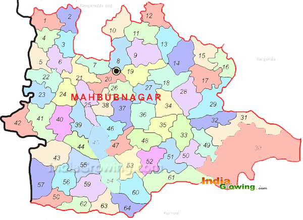 Mahabubnagar District Mandals Map