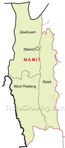 Mamit District Blocks Map