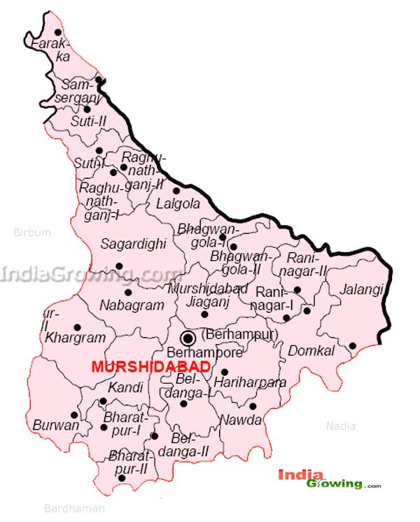 Murshidabad District Blocks Map