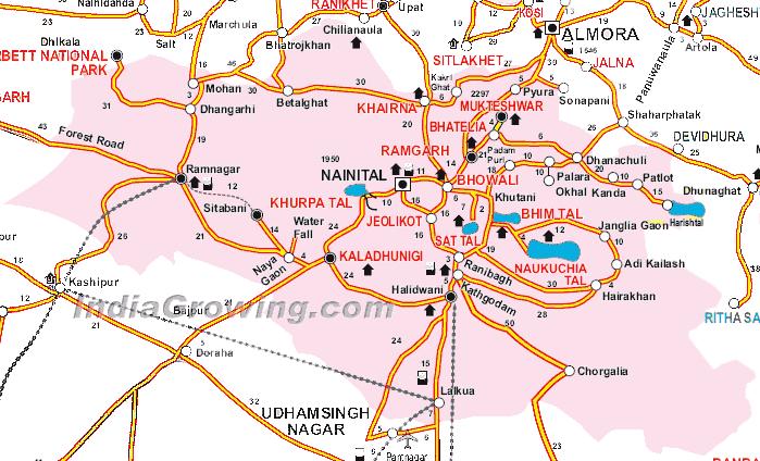 Nainital District Tehsils Map