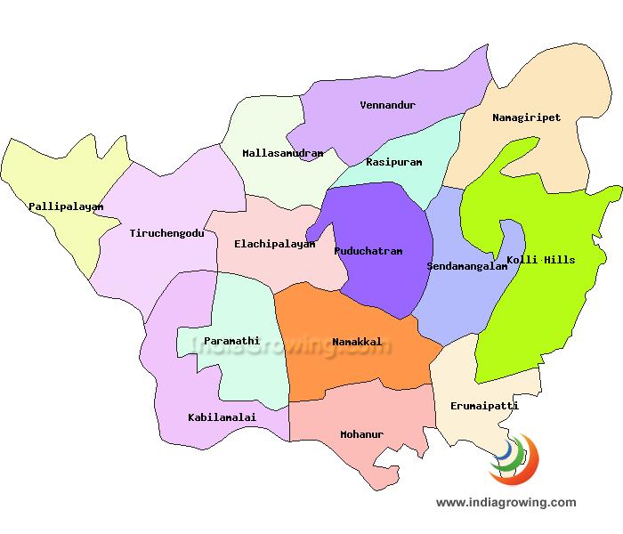 Namakkal District Taluks Map