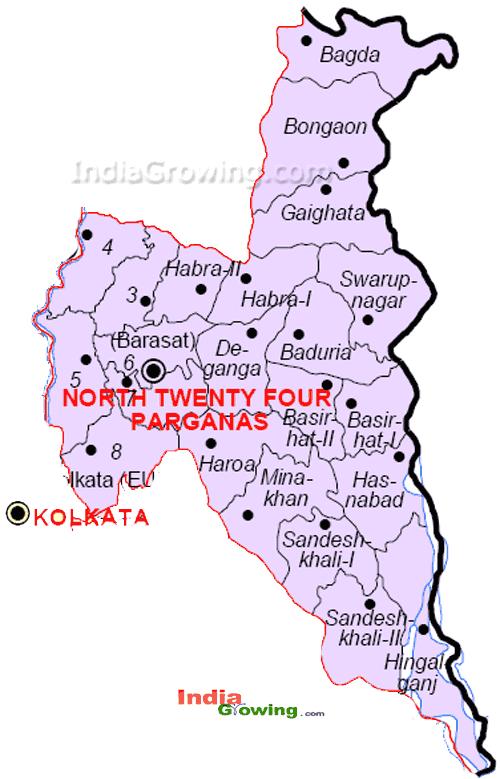 North 24 Parganas District Blocks Map