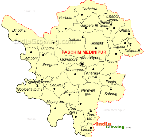 Paschim Medinipur District Blocks Map