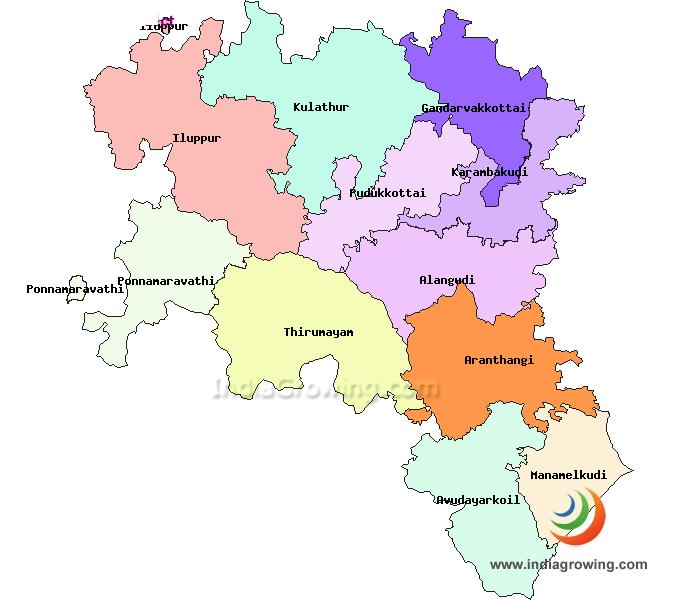 Pudukkottai District Taluks Map