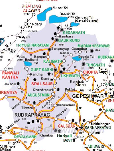Rudraprayag District Tehsils Map
