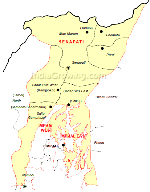 Senapati District Subdivisions Map