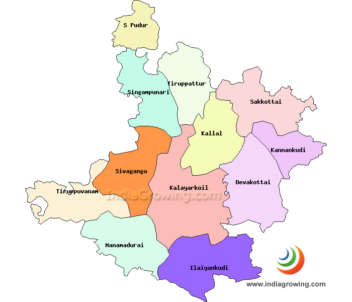 Sivaganga District Taluks Map