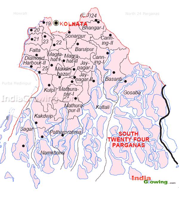 South 24 Parganas District Blocks Map