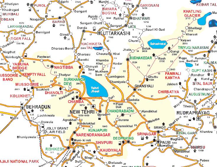 Tehri Garhwal District Tehsils Map