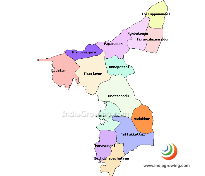 Thanjavur District Taluks Map