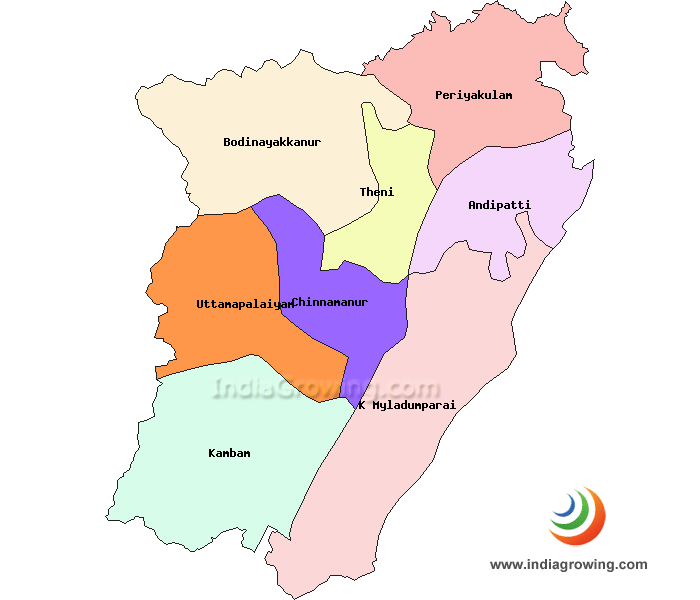 Theni District Taluks Map