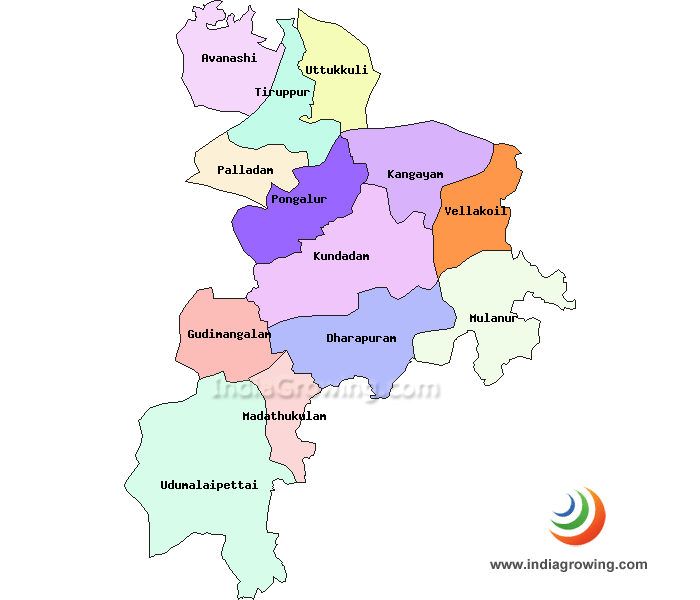 Tirupur District Taluks Map