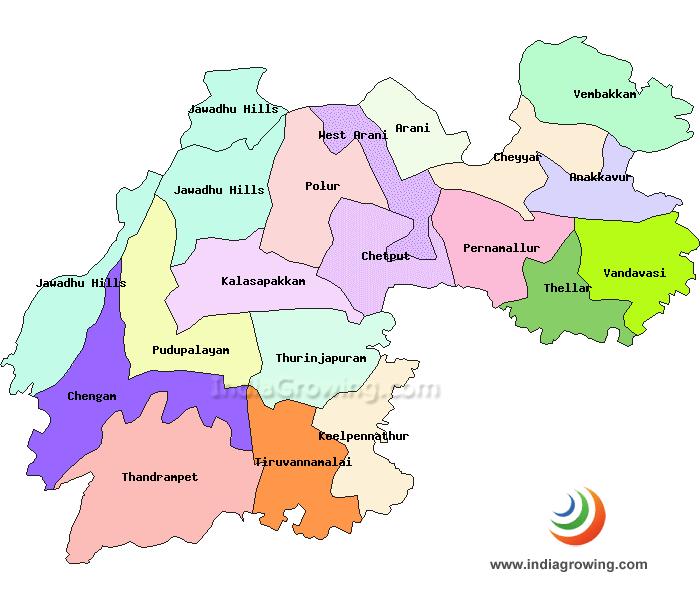 Tiruvannamalai District Taluks Map