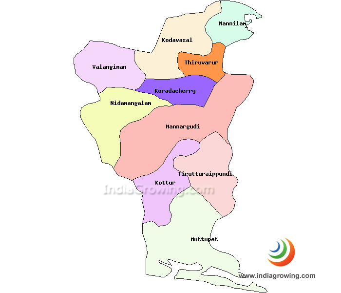 Tiruvarur District Map